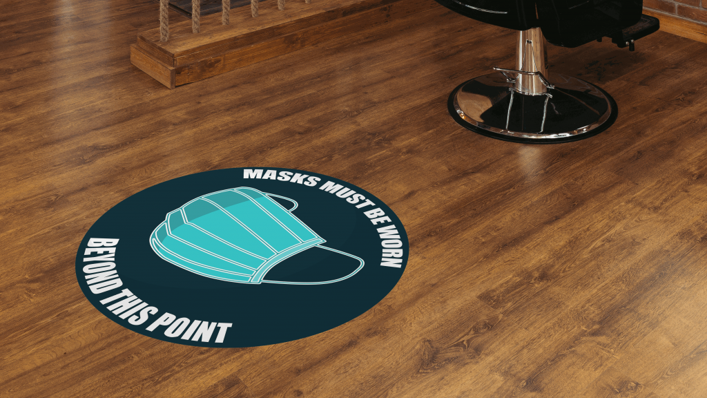 Floor graphics on hard wood flooring