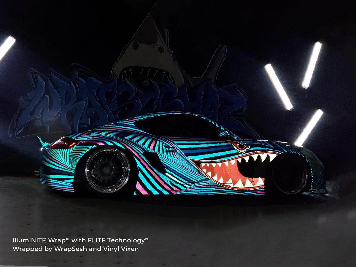 Arlon Graphics Reflective Vinyl IllumiNITE Wrap on a Porsche